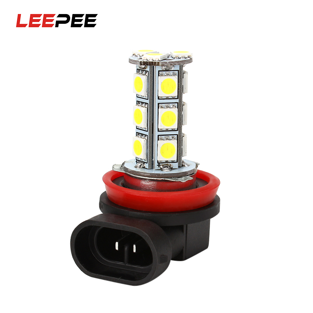 Car Headlight LED 5050 18 SMD H11 H8 Bulb Car-styling LED Lamps for Cars DC12V Driving Fog Lights White Car Light h8 h11 female adapter wiring harness socket car auto wire connector cable plug for hid led headlight fog light lamp bulb