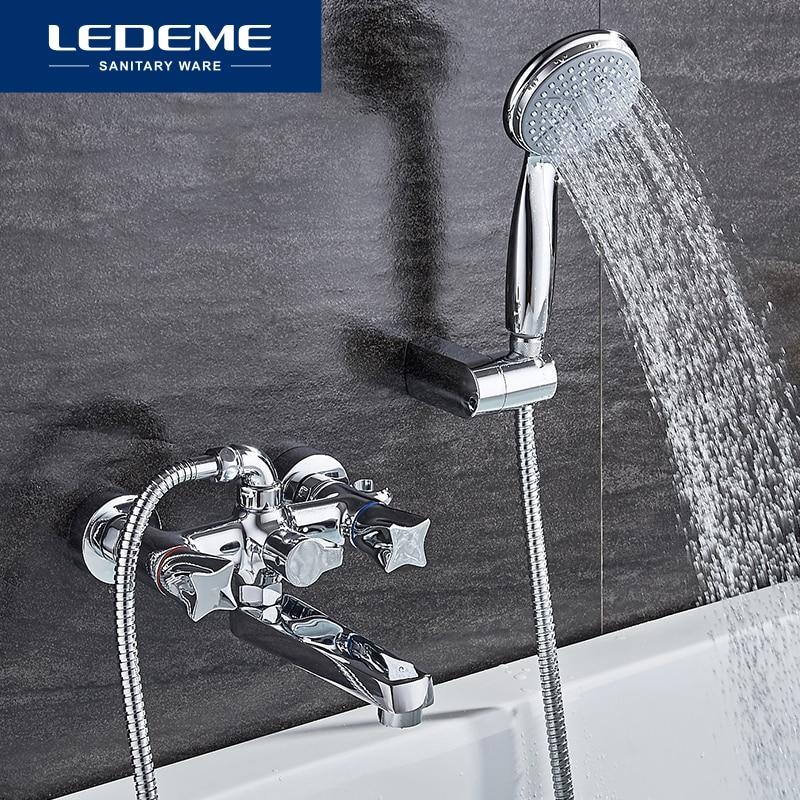 LEDEME Top Quality Bath Shower Faucets Set Bathroom Mixer Shower Bathtub Rainfall Shower Set Restroom Big