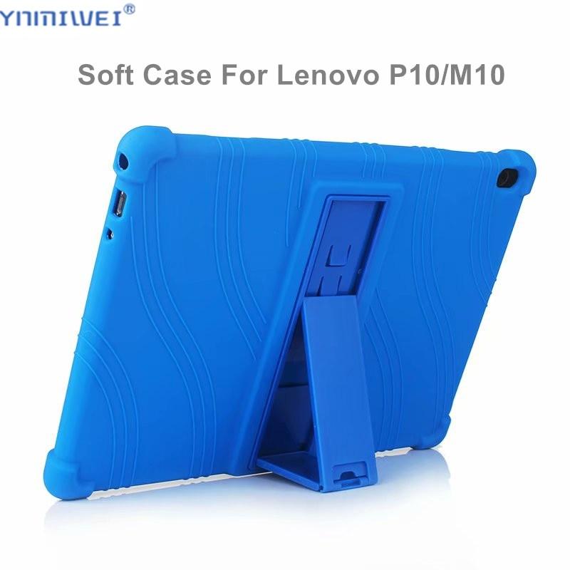 Silicon Case For Lenovo Tab M10 TB-X605F TB-X605L Stand Soft Cover For Lenovo Tab P10 TB-X705L TB-X705F 10.1