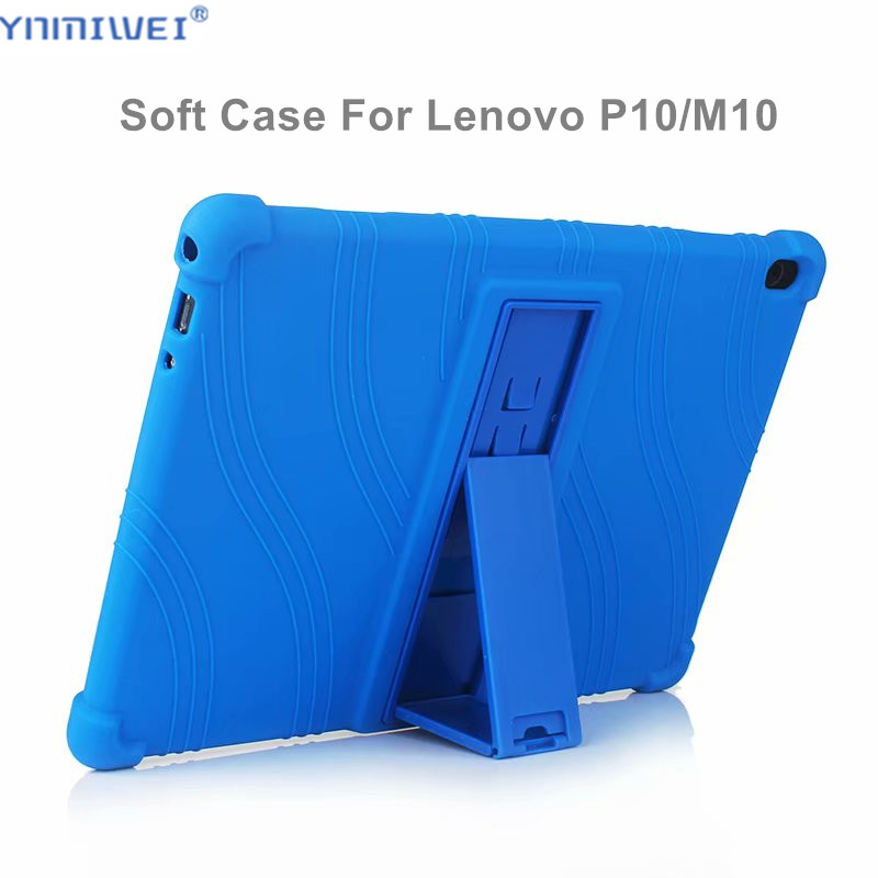 Silicon Case For <font><b>Lenovo</b></font> Tab M10 TB-X605F TB-X605L Stand Soft Cover For <font><b>Lenovo</b></font> Tab P10 TB-X705L TB-<font><b>X705F</b></font> 10.1