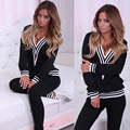 Ctater Women Tracksuit Sets 2017 New Autumn New Fashion Long Sleeve Femme V-neck Tops +Slim Pants Suits 2 Piece Set