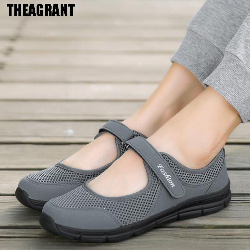 THEAGRANT Big Size Women Causal Shoes Spring Summer Mary Jane Woman Sneakers Light Weight Walk Drive Shoes Lady Flats WSN3002(China)