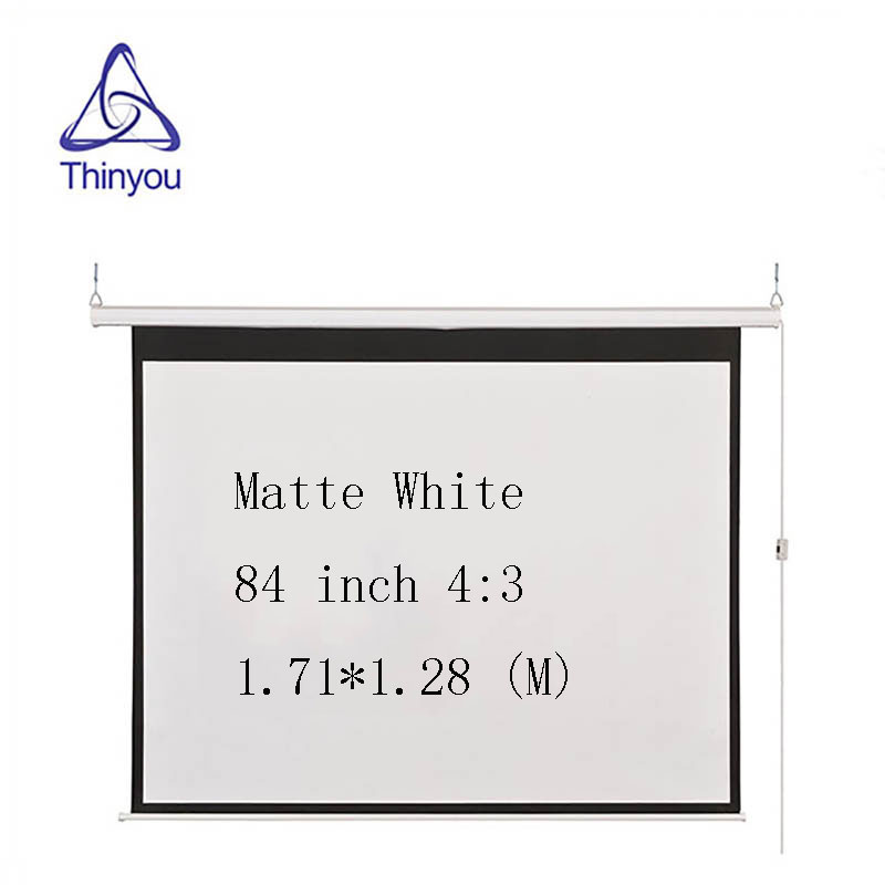 Thinyou Matte White Fabric Fiber Glass Curtain Motorized Screen 84 inch 4:3 Electric Screen With Remote For LED DLP Projector thinyou 84 inch 16 9 electric screen with remote control up down matte white fabric fiber glass curtain hd projector screen