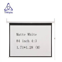 Thinyou Matte White Fabric Fiber Glass Curtain Motorized Screen 84 inch 4:3 Electric Screen With Remote For LED DLP Projector
