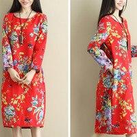 Fashion Fleece Lining Warm Flowers Print Jumper Dress Ladies 2018 NEW Oversized Long Sleeve O Neck Thicken Tunic Dress Pullover