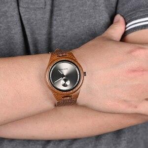 Image 2 - BOBO BIRD drewniane zegarki mężczyźni kobiety zegarki luksusowy skórzany pasek kwarcowy zegarek W drewnianym pudełku relogio masculino W * Q24