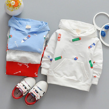 Фотография 1-3 Year children clothes shirts 2018 spring new casual pencil printed hooded toddlers girls boys Tee shirt tops