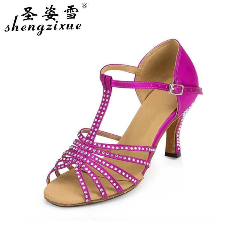 WUXIJIAO Fantasy purple and pink Latin dance shoes inlaid with Rhine stone upper sole with thickened comfort dance shoes