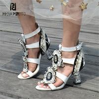 Prova Perfetto 2018 New Fashion High Heels Women Summer Sandals Rhinestone Feather Decor Female Gladiator Sandal Prom Dress Shoe