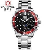 Neue Automatische Mechanische Uhren Männer Top Luxus Marke Karneval Sport Uhren Saphir Wasserdicht Männer Uhr Reloj hombre C8880 3-in Sportuhren aus Uhren bei