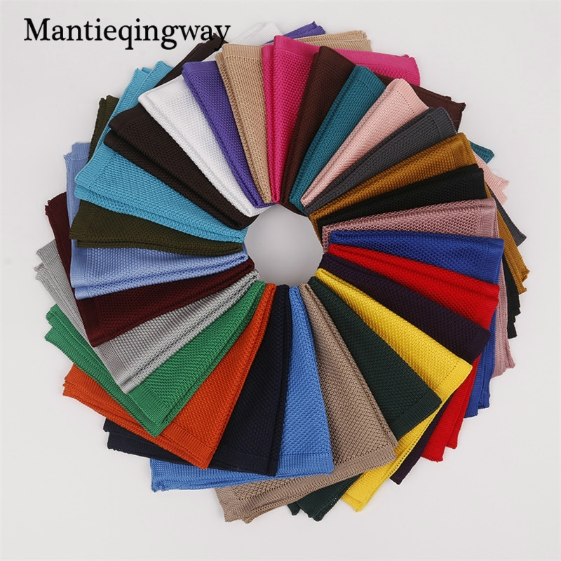 Mantieqingway Trendy Knitted Handkerchief For Mens Polyester Knitting Pocket Square Towel Business Chest Towel Solid Color Hanky