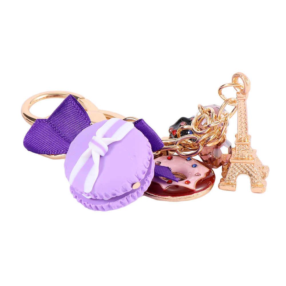 Новый Торт Макарон брелок для ключей хороший милый французский торт брелок с макаруном автомобильный брелок женская сумка кулон подарок ювелирные изделия