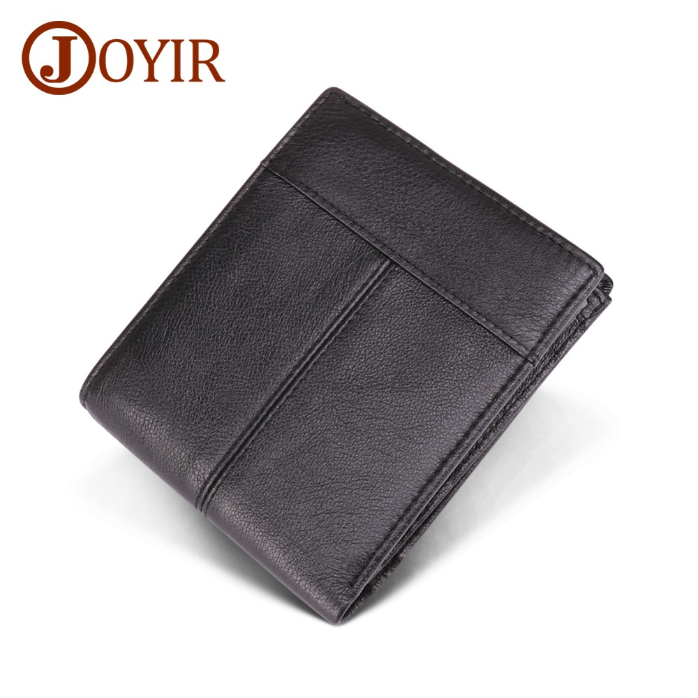JOYIR Genuine Leather Fashion Mens Wallet 100% Real Cowhide Retro Men Business New Design For