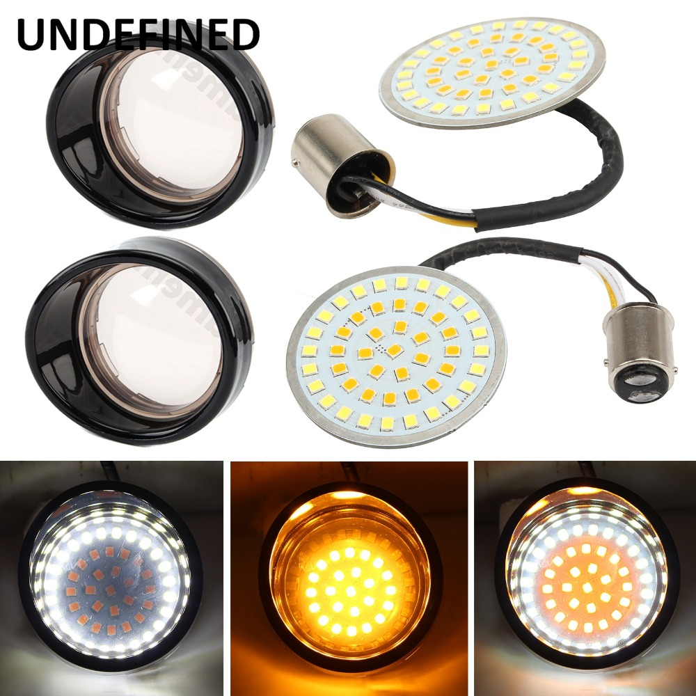 Bullet LED Motorcycle Turn Signal Indicator Light w Len Cover For Harley Sportster XL1200 883 Softail Dyna FLSTF 2012 2017 1157