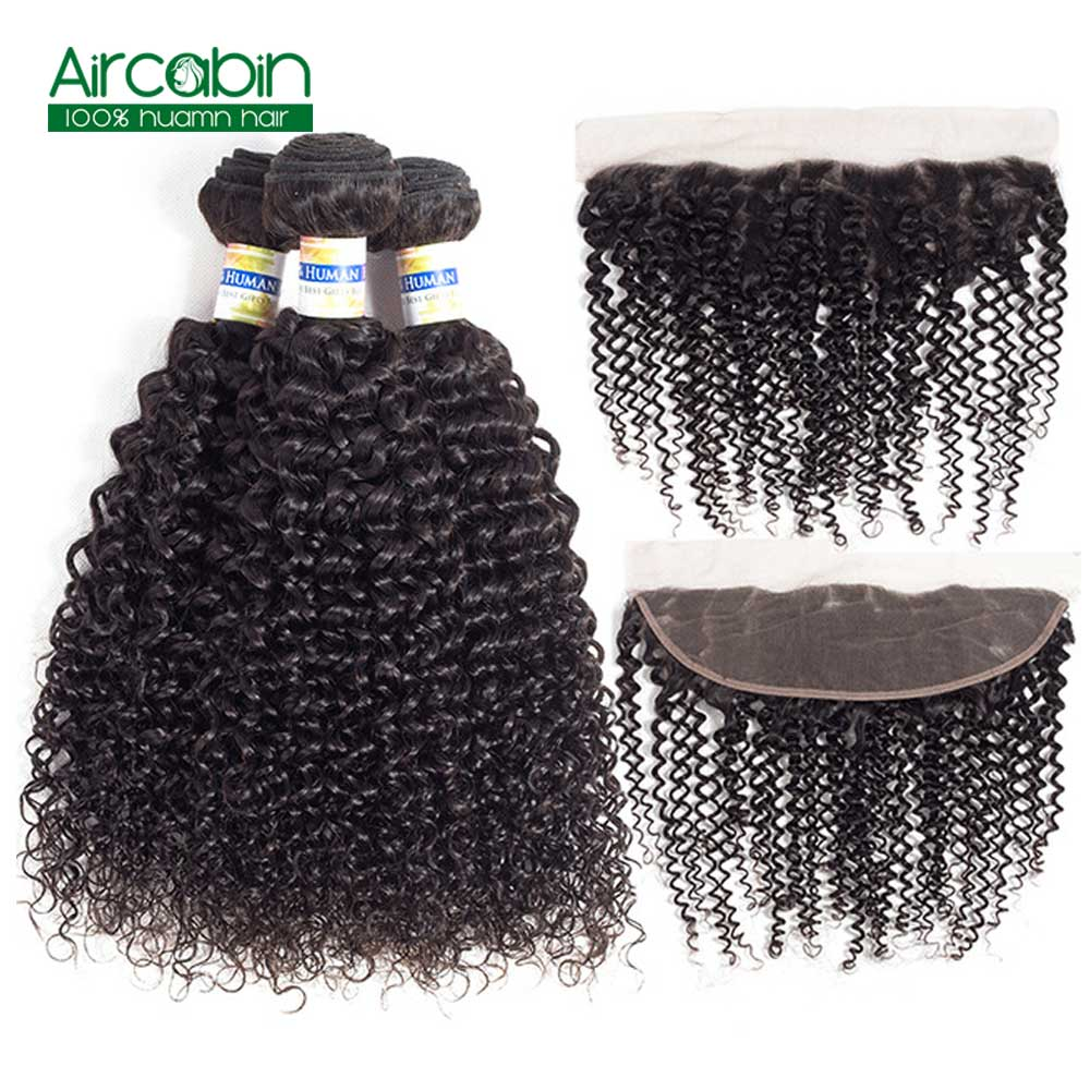 Kinky Curly 3 Bundles with Frontal Closure Brazilian Hair with Ear to Ear Lace Frontal AirCabin Remy Extensions Natural Black