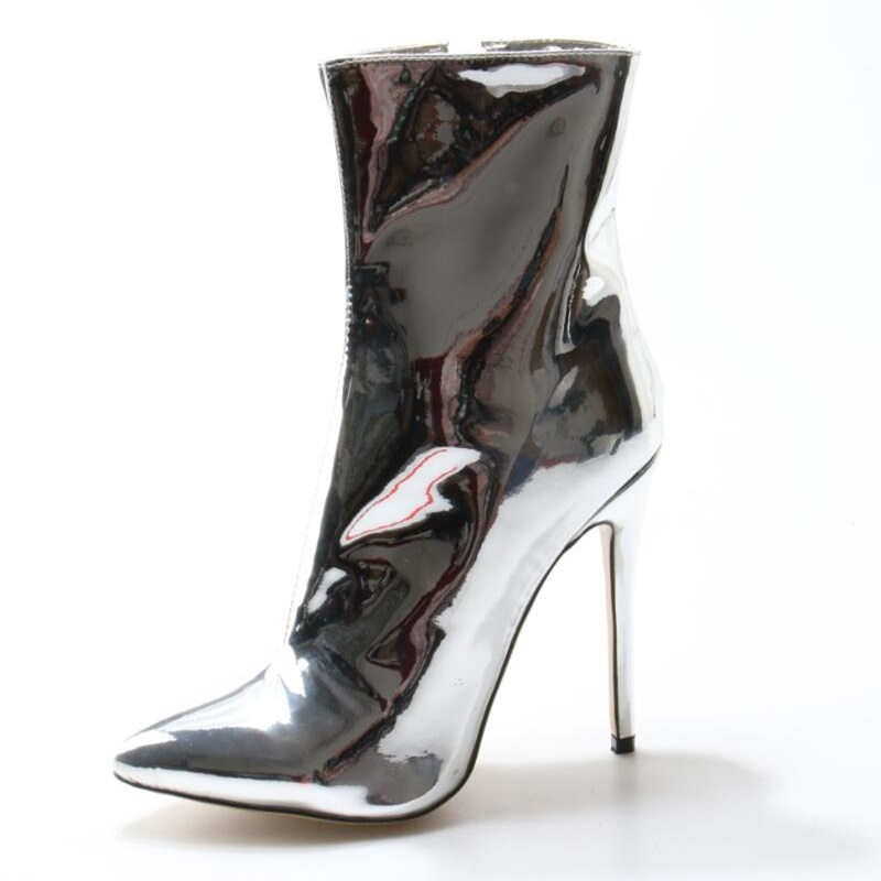 Silver Stylish Woman High Heel Boots Pointed Toe Zip Mid-Calf Patent Leather Shoes Basic Elegant Dress Office Ladies Shoes