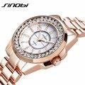 Famosa marca sinobi relojes señoras de las mujeres vestido reloj del cuarzo del diamante de lujo de oro rosa relojes de pulsera para las mujeres relógio feminino