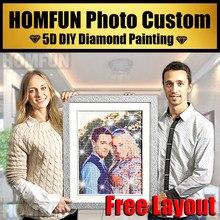 HOMFUN-personalización de foto privada, pintura de diamante artesanal, hacer tu propia imagen, taladro completo, bordado de diamantes de imitación, regalo