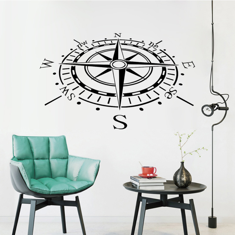 COMPASS Vinyl Decal Sticker Car Boat Window Wall Nautical Lundrimi Anchor Anije 3D Wall Stickers Shtëpi Dekor Dhomë ndenjeje Art C-10