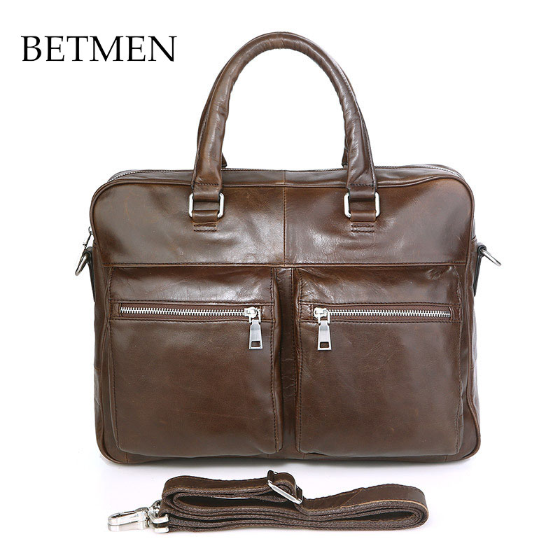 BETMEN Vintage Luxury Genuine Leather Bag Men Handbag Designer Brand Men Briefcase Business Laptop Bag 100% genuine leather men bag brand designed men laptop briefcase business bag cow leather men handbag shoulder bag messenger bag