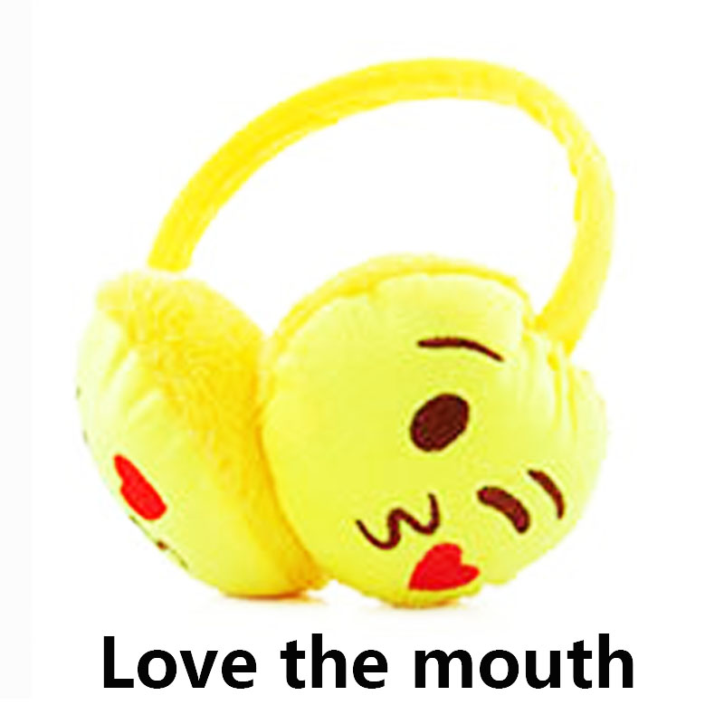 LNRRABC Cute Facial Expression Adult Children Winter Plush Women Earmuffs Emoji Lovers Ear Warmer Teenage Mother Girl Ear Muffs