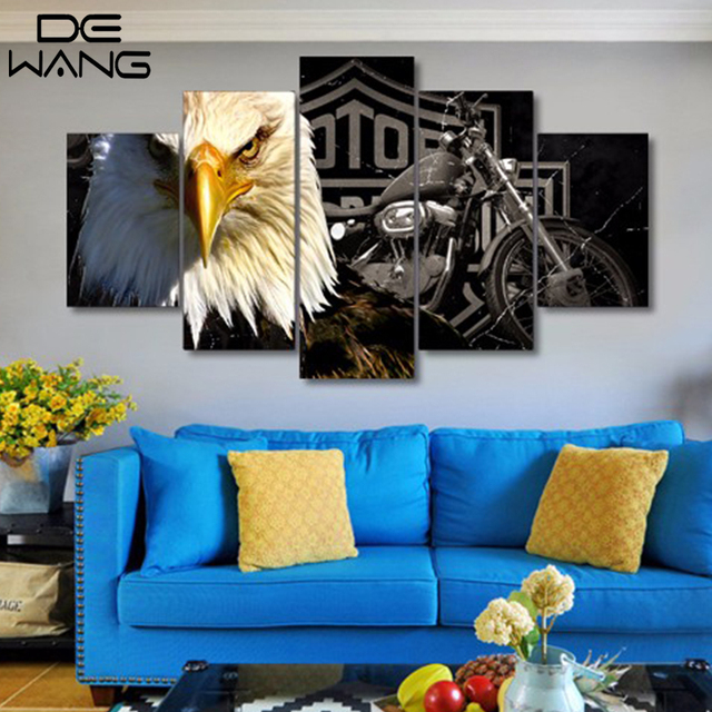 Harley Eagles Canvas Prints 5 Pieces Painting Wall Art Home Decor ...