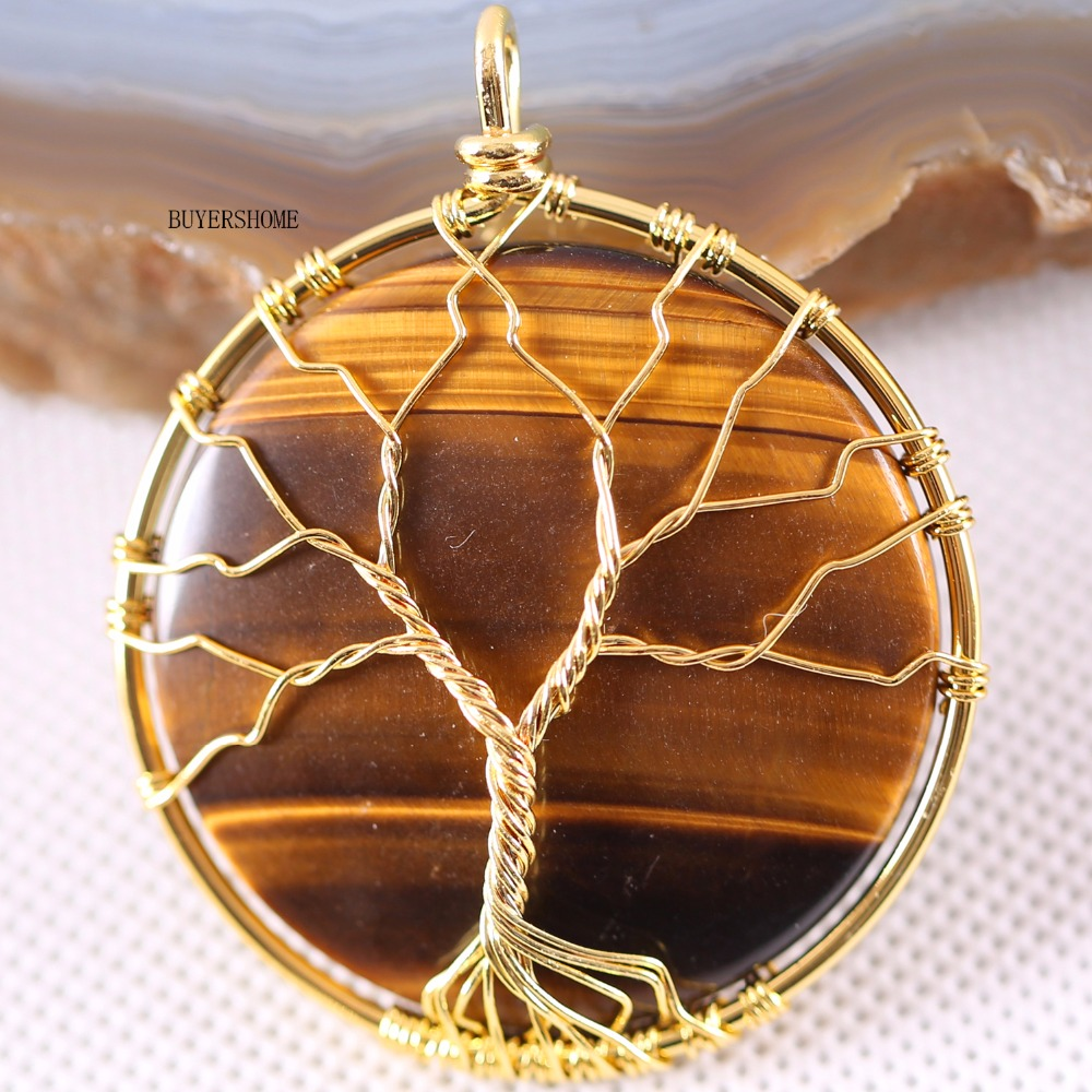 Tree Of Life Wire Wrap Copper Natural Stone Round Tiger S