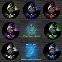 젤다 골동품 조명 비닐 레코드 벽 시계 그림자 아트 게임 홈 장식 클래식 창조적 인 벽 시계