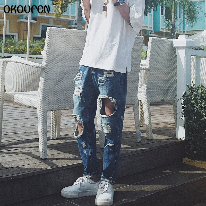Fashion Vintage Mens Ripped Jeans Ankle Length Pants Slim Fit Hip Hop Denim Joggers Male Novelty Streetwear Jeans NZK06 high quality mens jeans ripped colorful printed demin pants slim fit straight casual classic hip hop trousers ripped streetwear