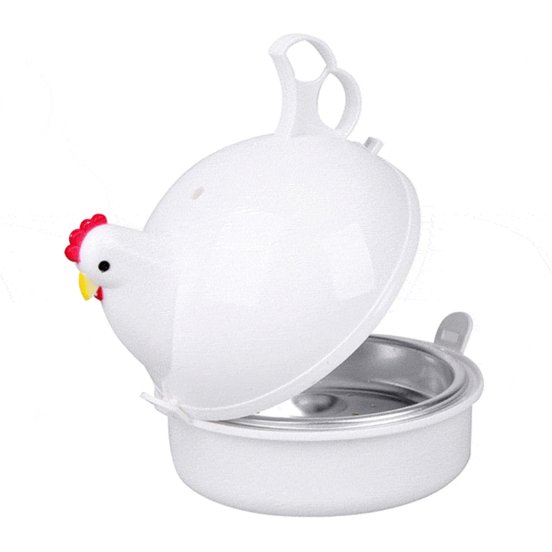 4 Egg Boiler Eggs Steamer Chicken Shaped Microwave Cooker Novelty Kitchen Household Cooking Appliances Steamer Home Tool