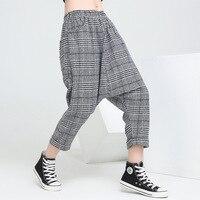 2018 Yeni Bahar Kadınlar Baggy Harem Pantolon Gevşek Elastik Bel Pantolon Bayanlar Ekose Nedensel Pantolon Kadın Hip Hop Dans Sweatpants