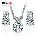 Uloveido Silver Plated Wedding Jewelry Set Necklace and Earring Set for Brides Crystal Jewelry Rhinestones Gifts for Women YDF01