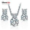 Uloveido plateado joyería de la boda collar y aretes para las novias regalos de joyas de diamantes de imitación de cristal para las mujeres ydf01