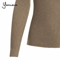 Yanueun Korean Fashion Women Pullovers Turtleneck Knit Shirt Long Sleeve Stretched Solid Sweater Tops 2016 Fall Winter Jumper 5