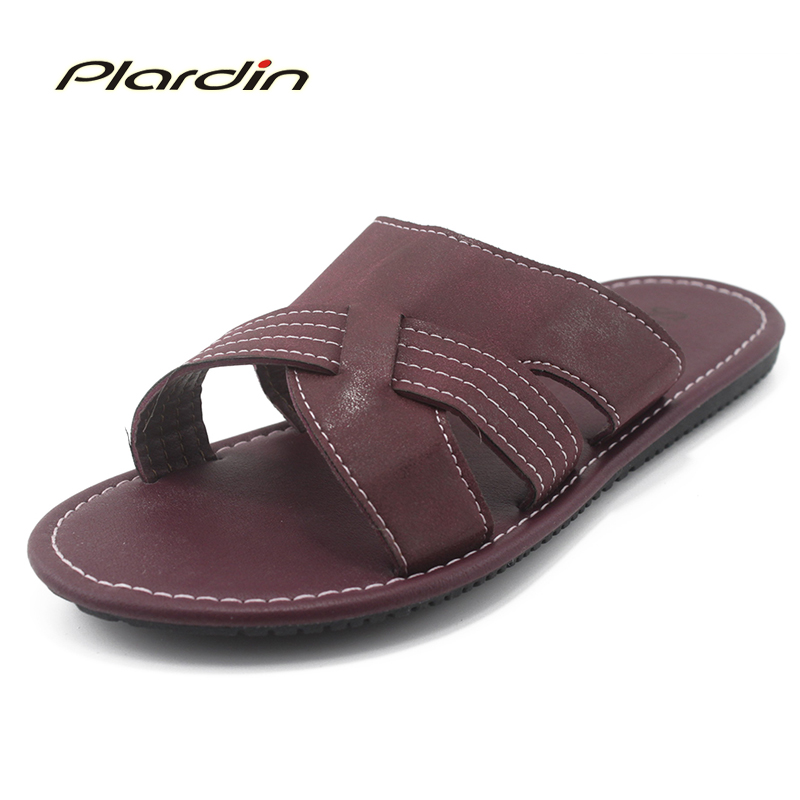 ifang Genuine Leather Beach Men s Flip Flops Sandals Men Male Summer Shoes Casual Leather Shoes