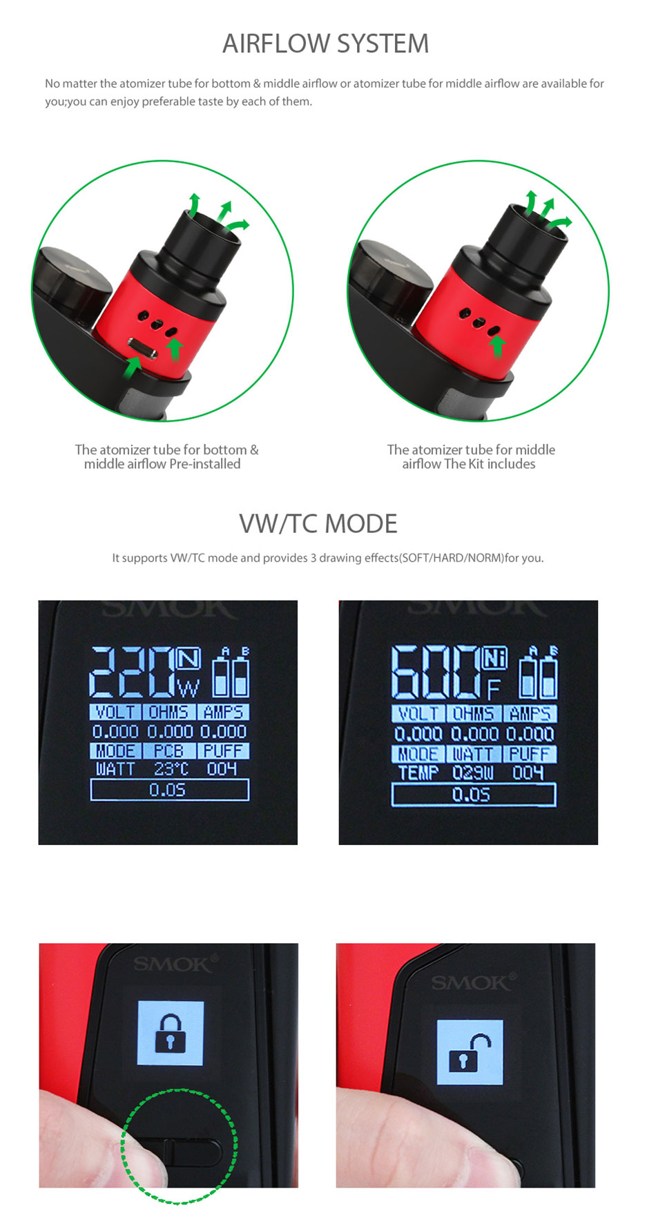 , 100% Original SMOK SKYHOOK RDTA BOX Vape Kit All in one Style with 9ml Bulit-in Tank Atomizer & 220W Skyhooh BOX MOD E-cigs Kit