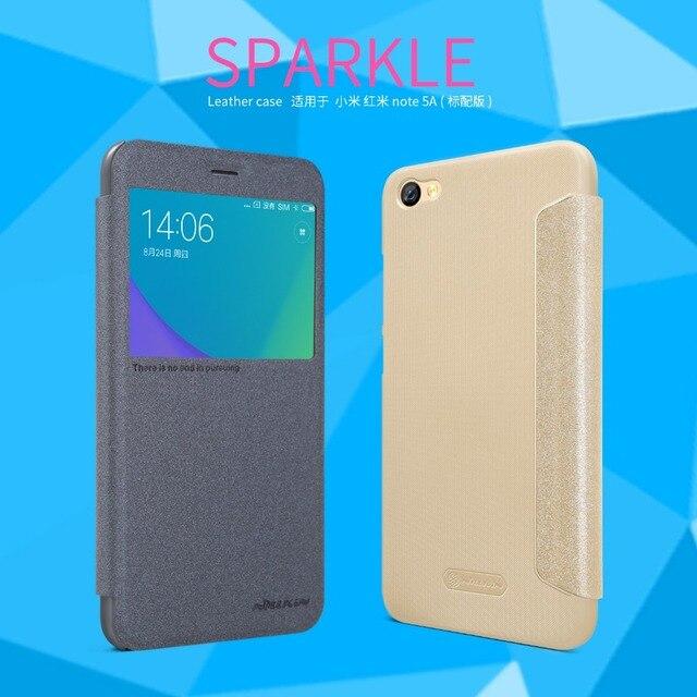 Funda de cuero para Xiaomi Redmi Note 5A (5,5 pulgadas) nillkin Sparkle Funda de cuero diseño de ventana con función de despertador de sueño inteligente