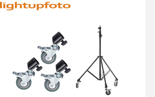 Lightupfoto 3PCS Photo Studio Heavy Duty Universal Caster Wheel 22mm For Light Stands& Boom light stand wheel with lock PFB7D