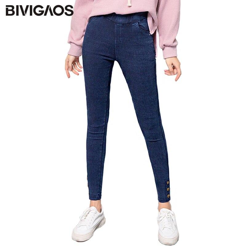 Bivigaos 2018 Autumn New Trouser Legs Buttons Stretch Jeans Leggings Snowflake Faux Denim Pencil Pants Jeggings Women Plus Size