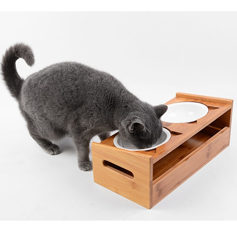 New Fashion Pet Double Dog Bowl Bamboo Ceramic Cat Bowl Dog Food Bowl Feeding Feeder Water Bowl for Dogs Storage Room Pet Shop