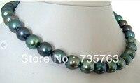 Великолепная AAA Натуральный Oval 12 ММ TAHITIAN Павлин зеленый Жемчужное ожерелье 18''