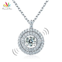Peacock Star Dancing Stone Halo Pendant Necklace Solid 925 Sterling Silver Good For Bridal Bridesmaid Gift