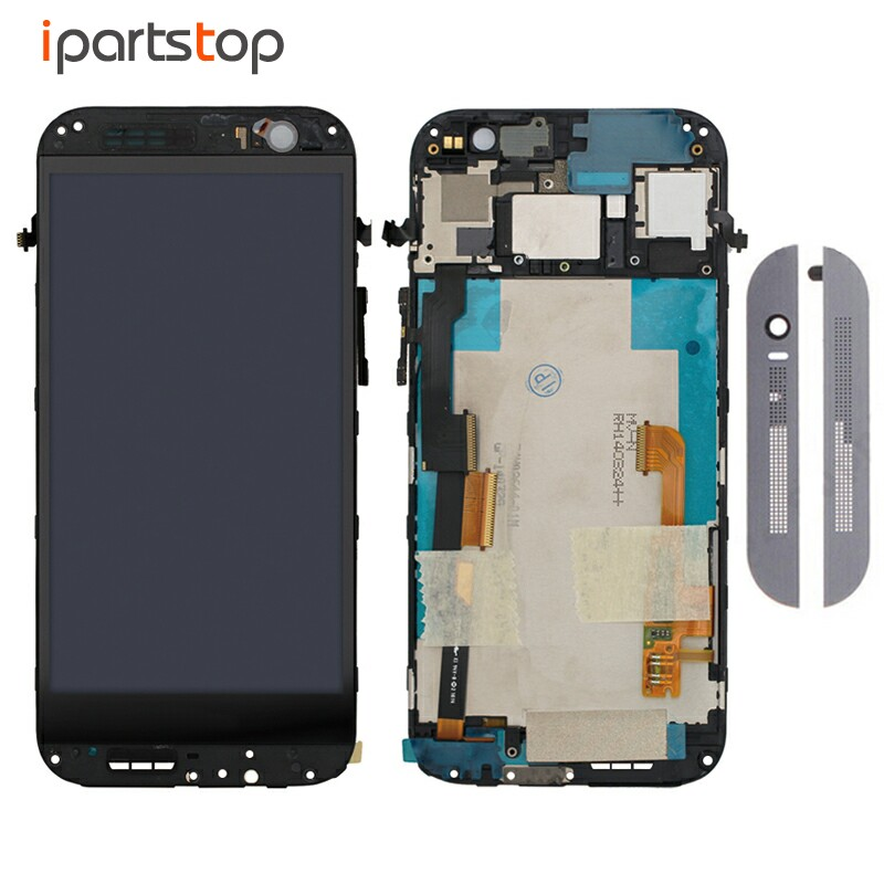 iPartsTop Grey Silver Gold Display For HTC ONE M8 LCD Screen Touch Digitizer With Front Frame Housing Bezel Full Assembly Tested silver grey gold white lcd display for htc one m8 831c touch screen digitizer assembly frame for htc one m8 831c free ship