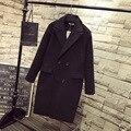 2016 Теплый Толстый Зимний Женщин Шерсть Плюс Размер 3XL 4XL 5XL Случайный отложным Воротником Двубортный Длинные Пальто Черного QYL49