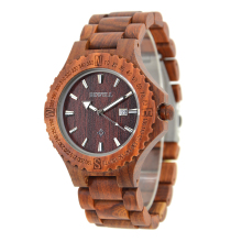 Men's BEWELL Fashion Sports Quartz-watch Red Sandalwood Mesh Brand Men Watches Complete Calendar Wristwatch Chronograph 023A