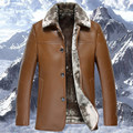 Winter turn down collar fur lining solid color men PU leather jacket male warm leather thicker single breasted  Parkas MZ1176