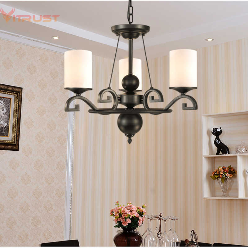 Nordic Iron Chandelier Lighting Fixture Minimalist Black Hanging Lights country wrought iron suspension Modern lamps AC110-240v