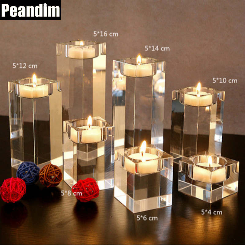 PEANDIM Home Decorations Lysestage Bryllup Idee K9 Krystal Lys Holder Tabel Centerpieces Bar Kaffebar Dekorationer