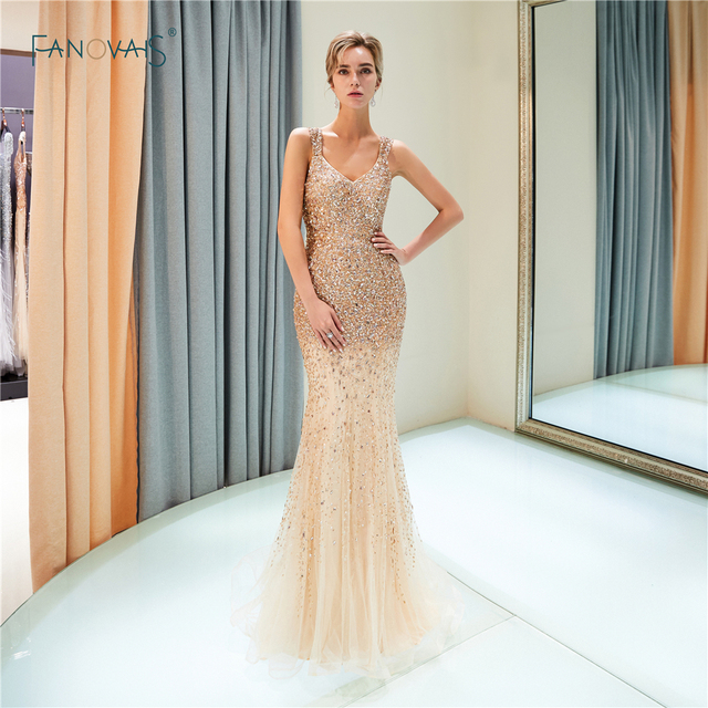 37bd94b4e0 Sexy Champagne Mermaid Evening Dresses Long V-Neck Beaded Prom Dresses 2019  Tassels Evening Gown Vestido de Fiesta QS2