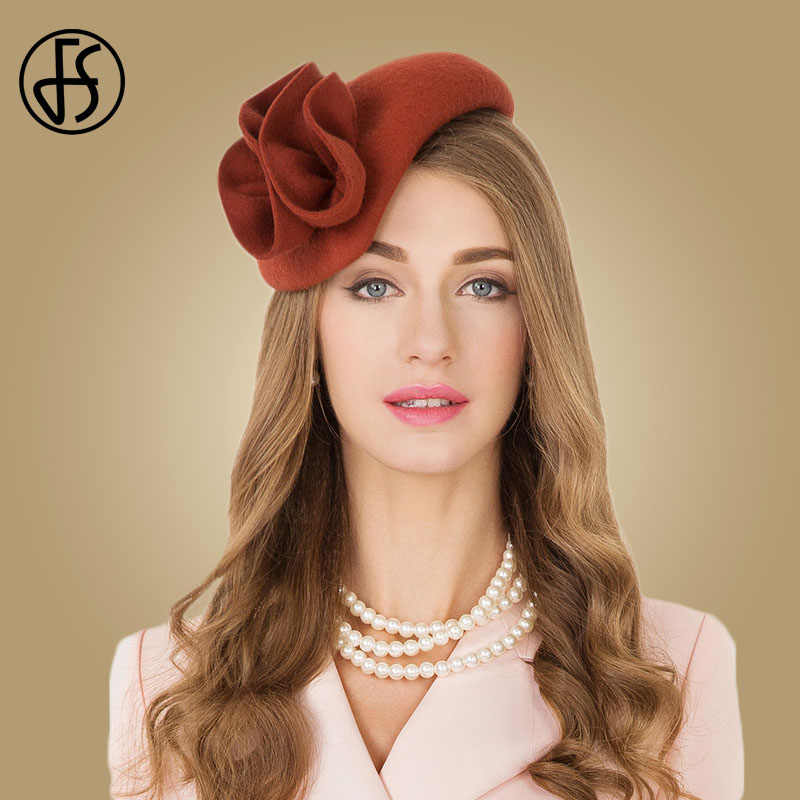 FS Ladies Wool Cocktail Hat Wedding Fascinator Hats For Women Formal Pillbox Felt Tea Party Flower Fedoras Chapeau Femme Vintage